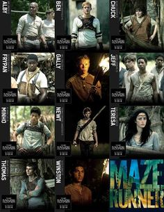 The Maze Runner characters! They literally picked the perfect people to play everybody. IM SO EXCITED! I've pinned like 30 maze runner pins in a row now