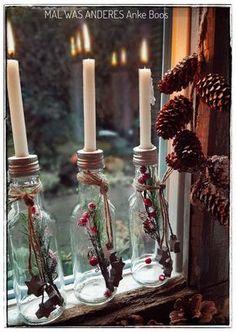 Metabes - Home, Craft and Diy Edinburgh Christmas, Nordic Christmas, Primitive Christmas, Christmas Time, Xmas, Christmas Wreaths To Make, Christmas Crafts, Christmas Wreath Illustration, Bottle Candles