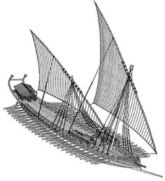 Reconstruction of an early 10th-century Byzantine bireme dromon by John H. Pryor, based on references in the Tactica of Emperor Leo VI the Wise. Notice the lateen sails, the full deck, the fore- and mid-castles, and the Greek fire siphon in the prow. The above-water spur is evident in the bow, while the captain's tent and the two steering oars are located at stern.