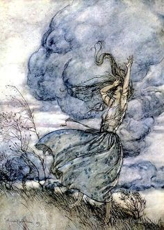 Arthur Rackham art Print: Undine in the Stomr. Arthur Rackham Illustration to Undine. Arthur Rackham, Art And Illustration, Book Illustrations, Harry Clarke, Illustrator, Images Esthétiques, Ecole Art, Fairytale Art, Wow Art