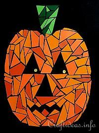 Halloween Mosaics | Halloween Crafts for Kids - Halloween Art - Paper Mosaic Jack o ...