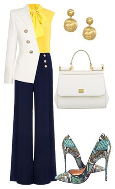 """Blazer Contest"" by arta13 on Polyvore featuring Moschino, Ted Baker, Balmain, Christian Louboutin, Dolce&Gabbana and Marco Bicego"