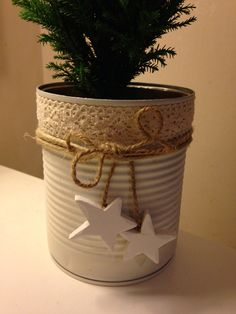Coffee Can Crafts, Tin Can Crafts, Diy Arts And Crafts, Diy Craft Projects, Fun Crafts, Crafts For Kids, Tree Crafts, Decor Crafts, Homemade Christmas Gifts