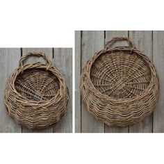 Baskets - Round Willow Wall Basket Set - Primitive, Country Rustic Double Woven $26.99