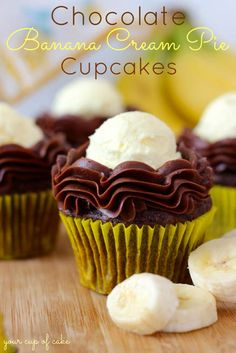 Chocolate Banana Cream Pie Cupcakes by Your Cup Of Cake