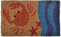 Imports Décor Decorated Coir Doormat, Crab, 18 by 30-Inch by Imports Décor. $31.99. Stenciled with fade-resistant dyes. 100-percent coir fibre naturally bleached with sea water. Durable, waterproof and superior scubbing power. Measures 30 by 18 by 1-inch. Crab and beach shore printed on door mat. Welcome your guests with the whimsical beach inspired design of this doormat decorated with a crab and waves. stenciled with fade-resistant dyes in vibrant shades of ocean blue...