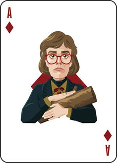 Twin Peaks inspired Playing Card design. Illustration of The Log Lady as the Ace of Diamonds.