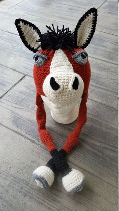 Horsin' Around Horse Hat pattern by JoAnne Grimm Thompson Crochet Animal Hats, Crochet Horse, Crochet Kids Hats, Crochet Cap, Knitted Hats, Crochet Character Hats, Single Crochet Decrease, Novelty Hats, Crochet Projects