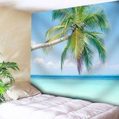 Coconut Palm Pattern Wall Hanging Microfiber Tapestry