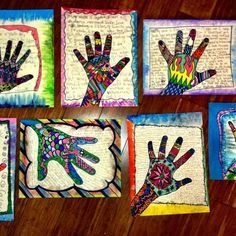 Self portrait hand prints - dewestudio lesson--Fill the hands with patterns and the background with their writing.