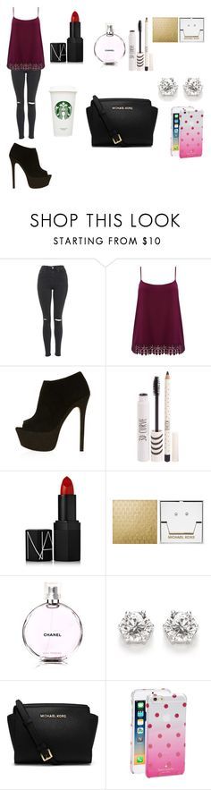 """""""Untitled #108"""" by orii-gentil ❤ liked on Polyvore featuring Topshop, M&Co, NARS Cosmetics, Michael Kors, Chanel, Kate Spade and plus size clothing"""