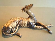 Ceramic Greyhounds with unique aesthetic. Carol Brace.