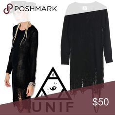 """UNIF Destroyed Hem Tunic Sweater Loose fitting, long knit black sweater with a destroyed 'loose strings' hem line. By UNIF. Size Large. Overall excellent condition with no apparent signs of wear or flaws. Sweater is stretchy and will accommodate the range listed next. Measurements: Chest 19""""-22"""" Length from Armpit 29"""" Length from Top Shoulder 40"""". Reasonable offers only please. UNIF Sweaters"""