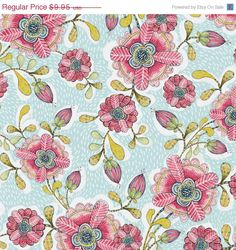 Happy Blossoms Blue - Hello World - Blend Fabrics - 1 yard    100% Premium Cotton  Quilting Weight  44/45 wide    For other Blend Fabrics: