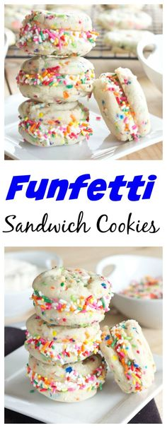 Funfetti Sandwich Cookies – Made from scratch funfetti cookies sandwiched with buttercream frosting. Because sprinkles just make everything more fun! Recipe