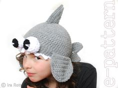 Fashion Crochet Design By Ira Rott: Shark Hat with Googly Eyes for Boy or Girl- Croche...
