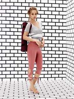 Model wears Wrap Top and Turnout Legging for lookbook photoshoot