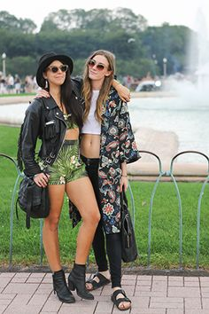 Well, look who it is! That's our lovely photographer Leslie Kirchhoff (right) and friend showing us how festival style is done.