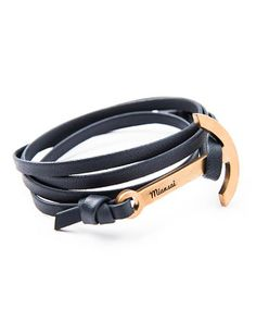 Modern Anchor Leather Bracelet, Navy by Miansai at Neiman Marcus.