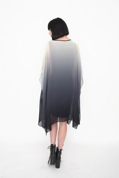 Silk Grey Ombré Dip Dye Drape Dress by amuletboutique on Etsy Infinity Clothing, Grey Ombre, Ombre Effect, Draped Dress, Dip Dye, New Look, Feather Cape, High Neck Dress, Silk
