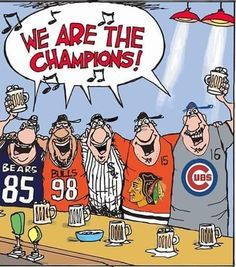 Chicago winners Bears, Bulls, Sox, and Blackhawks I still love the Cubs! Chicago Cubs Baseball, Bears Football, Chicago Blackhawks, Chicago Bears, Espn Baseball, Baseball Bats, Baseball Stuff, Cardinals Baseball, Baseball Players