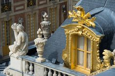 Detail of the rooftop of the Marble Court at Versailles. Source