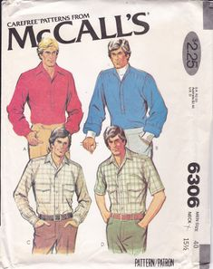 Vintage Sewing Pattern McCalls 6306 Men's Pullover Shirt Button Cuff Shirttails Retro FF UNCUT Chest 40 by LanetzLiving on Etsy Mens Sewing Patterns, Mccalls Patterns, Simplicity Sewing Patterns, Poet Shirt, Shirt Skirt, Vintage Men, Doll Clothes, Retro, 1970s