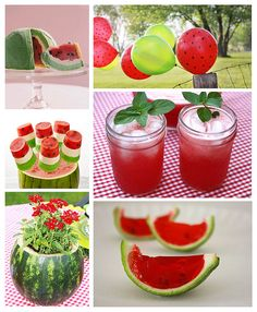 The watermelon flower pot is such a good idea for a summer party, or a little girl's watermelon themed party.