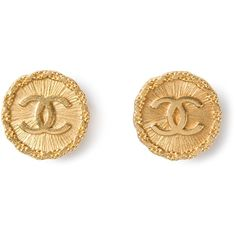CHANEL VINTAGE CC disc earrings (€220) ❤ liked on Polyvore featuring jewelry, earrings, accessories, chanel, j., gold jewelry, vintage gold earrings, chanel earrings, twist jewelry and gold colored earrings