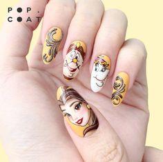 Disney nail designs, acrylic nail designs, acrylic nails, beauty and Disney Acrylic Nails, Acrylic Nail Art, Acrylic Nail Designs, Disney Nails Art, Disney Art, Beauty And The Beast Nails, Beauty Nails, Long Nail Art, Long Nails