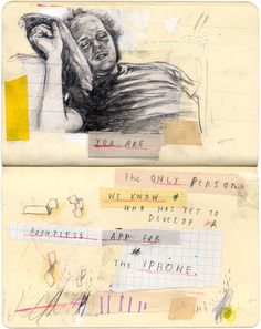 A selection of pages form mixed-media artist David Fullarton's Moleskine sketch book.
