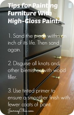 3 tips for painting furniture with high-gloss paint. These are important lessons that I learned the hard way!