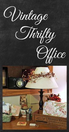 Vintage thriftty office decor on a budget - most items are from thrift stores and flea markets.