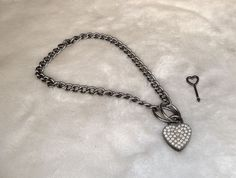 Nice Silver Dog Chain Link Rhinestone Heart Padlock Pendant Necklace W/ Key  #Unbranded #Pendant