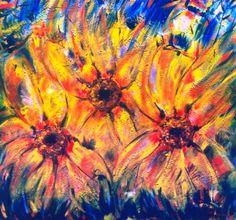 Pinturas Temáticas : Flores Abstractas Modernas, Pintura de César Correa