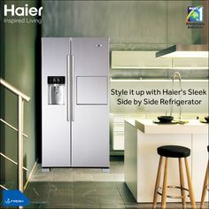 Give your #kitchen an instant upgrade with #Haier's stylish #SideBySide #refrigerator.