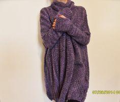 Oversize , chunky knit woman sweater. Slouchy/Bulky / Loose sweater. Marble dark/light  purple.