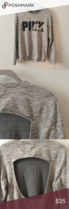 Victoria's Secret PINK sweatshirt open back crew Victoria's Secret PINK Open back  Crew neck  Heathered gray  Armpit to armpit 19 inches  Shoulder to bottom 26 inches PINK Victoria's Secret Tops Sweatshirts & Hoodies