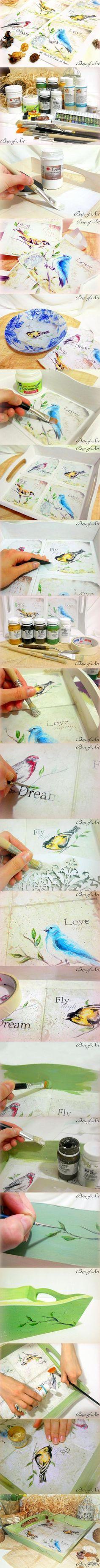 "Декупаж - Сайт любителей декупажа - DCPG.RU | Поднос ""Dream & Fly"". Мастер-класс от ""Base of Art"" Click on photo to see more! Нажмите на фото чтобы увидеть больше! decoupage art craft handmade home decor DIY do it yourself tutorial Materials and techniques:acrylic paint decoupage card craquelure wax varnish etc."