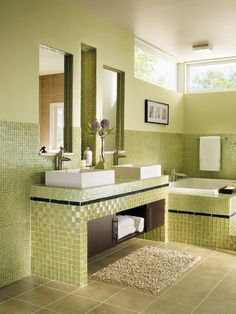 Green Bathroom. Lovely! More >>> http://bathroom-designideas.com/bathroom-tile-design-ideas/