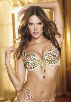 Runway-ready: Supermodel mother-of-two #Alessandra Ambrosio models the Floral Fantasy Bra Gift Set, designed exclusively for Victoria's Secret by London Jewelers for the 2012 VS Fashion Show. Ale had waited 11 years to model the Victoria's Secret $2.5million Fantasy Bra. #VSFS #VSFS_2012