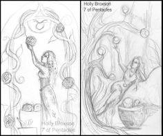 #WIP #7ofPentacles #7ofCoins #HollyBroxon #SeventyEightTarot #Tarot #sketch #goddess #woman #illustration #fantasy #artist http://www.pinterest.com/flutterbliss/holly-broxsons-art/