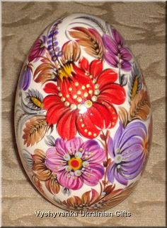 Ukrainian Petrykivka Pysanka Goose Real Egg [rp1499] - $50.00 : Vyshyvanka Ukrainian Gifts