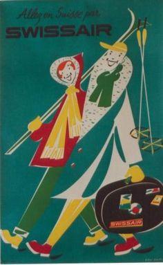 Details zu Original vintage poster SWISSAIR SKI WINTER SPORTS