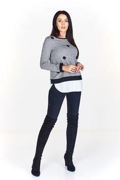 Dámská halenka/svetřík s všitou košilovou vsadkou. Zdobeno textilními květy. Claire, Boutique, Modern Sectional, Classy Outfits