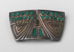 Belt Buckle    Patriz Hüber (German, 1878–1902)     1900-1901. Silver and green stones,