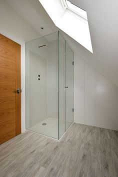 Recessed bespoke shower cubicle installed by Creative Glass Studio. Loft Bathroom, Downstairs Bathroom, Bathroom Layout, Bathroom Designs, Framed Shower Door, Glass Shower Doors, Attic Shower, Shower Rooms, Sliding Shower Screens