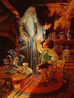 Bilbo and Gandalf by Ruth Sanderson. Jrr Tolkien, Tolkien Books, Hobbit Art, O Hobbit, Fellowship Of The Ring, Lord Of The Rings, Gandalf, Legolas, Shire