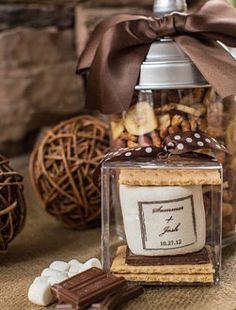 50 s'mores kit mason jar rustic wedding favors fall by FeteSetter