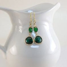 Emerald and Gold Earrings Czech Glass Gold by CinLynnBoutique, $19.00